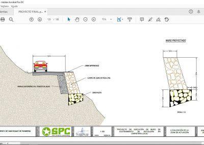 Proyecto de ejecución de muro de sostenimiento de escollera en carretera local